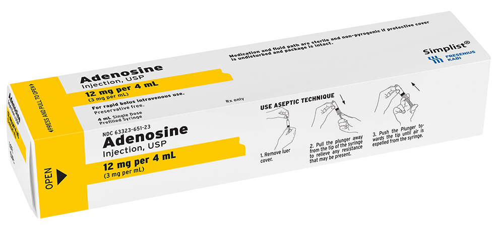 Single Syringe Box image for 12 mg per 4 mL of Adenosine