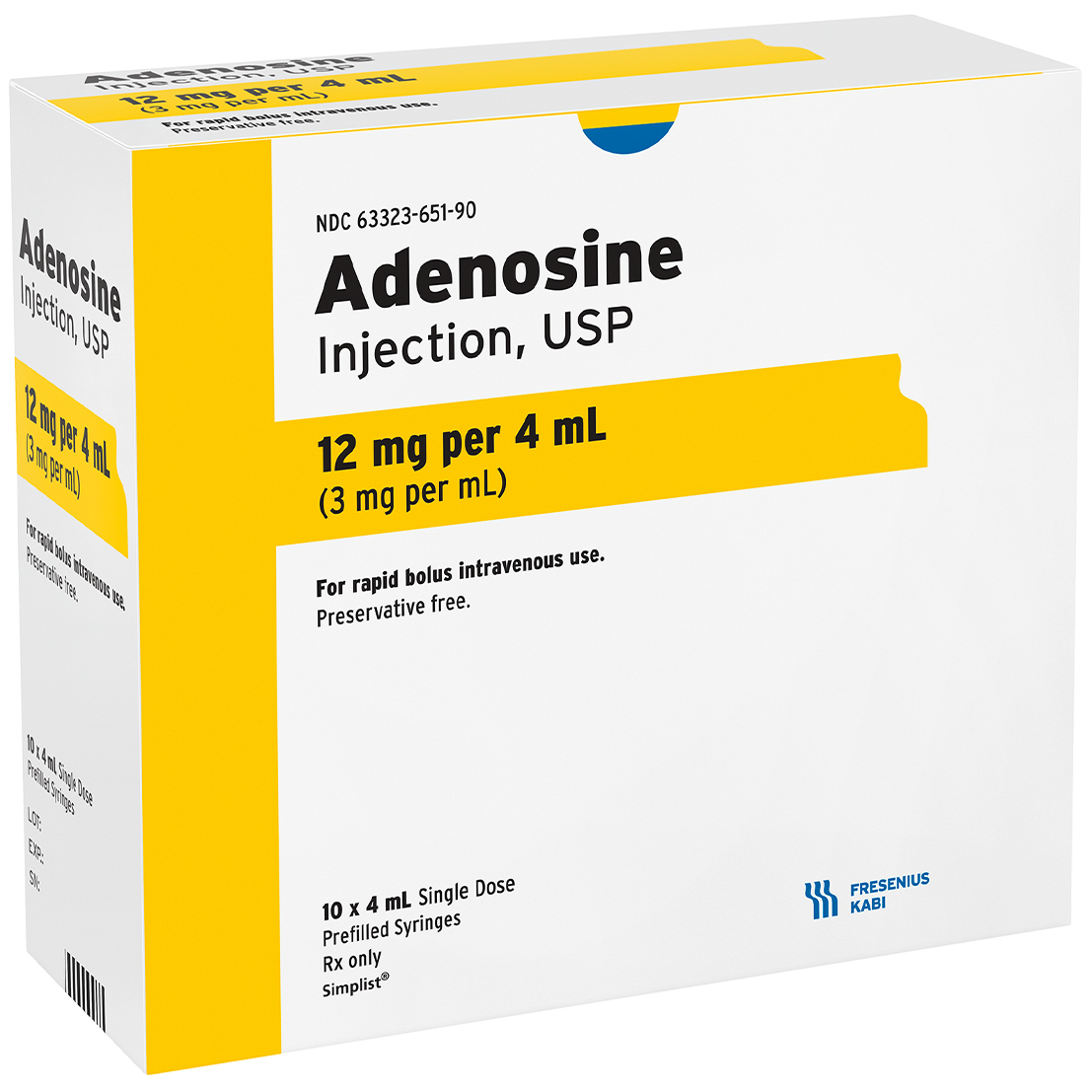 Volume Carton image for 12 mg per 4 mL of Adenosine