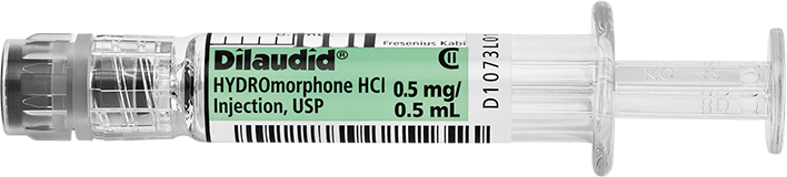 Horizontal Syringe image for 0.5 mg per 0.5 mL of Dilaudid