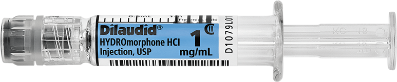 Horizontal Syringe image for 1 mg per 1 mL of Dilaudid