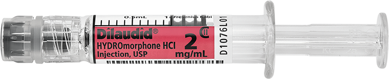 Horizontal Syringe image for 2 mg per 1 mL of Dilaudid