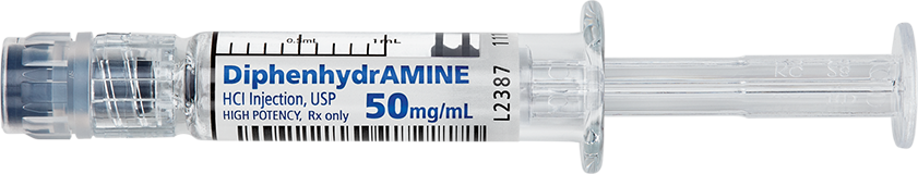 Horizontal Syringe image for 50 mg per 1 mL of Diphenhydramine