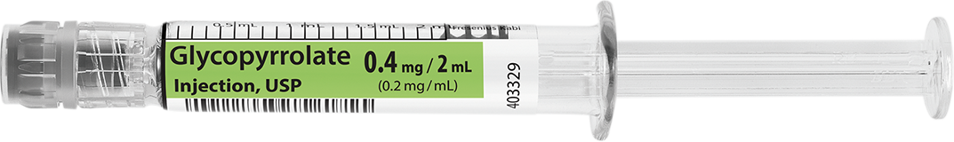 Horizontal Syringe image for 0.4 mg per 2 mL of Glycopyrrolate