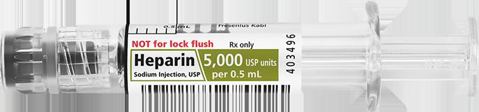 Horizontal Syringe image for 5000 USP per 0.5 mL of Heparin