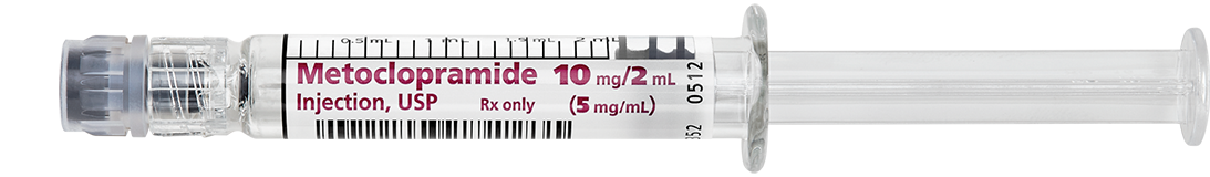 Horizontal Syringe image for 10 mg per 2 mL of Metoclopramide