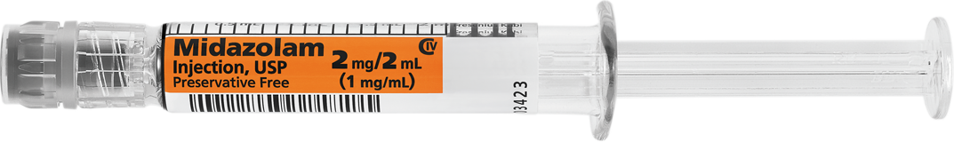 Horizontal Syringe image for 2 mg per 2 mL of Midazolam