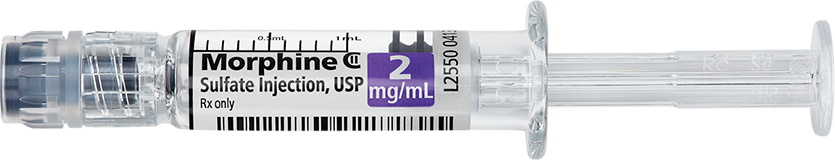 Horizontal Syringe image for 2 mg per 1 mL of Morphine