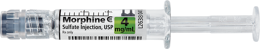 Horizontal Syringe image for 4 mg per 1 mL of Morphine