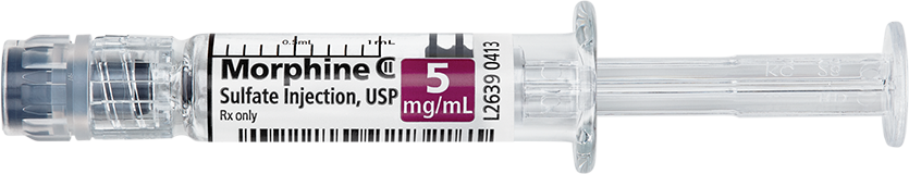 Horizontal Syringe image for 5 mg per 1 mL of Morphine