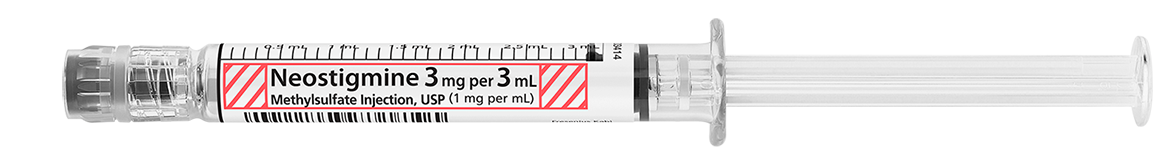 Horizontal Syringe image for 3 mg per 3 mL of Neostigmine